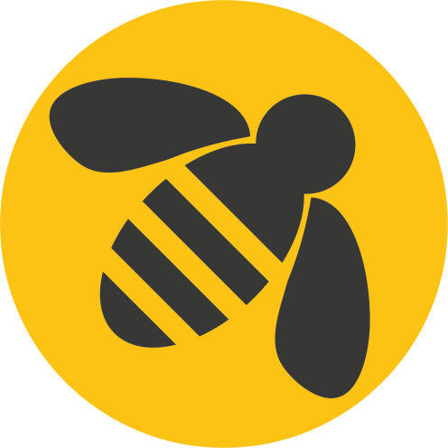 Applebee Marketing Round Logo with yellow background & black bee